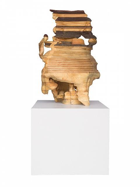 Terrasse maritime, de l'artiste Claudia Côté, Sculpture de bois, dimension : 31 x 23 x 39 pouces de largeur, Création unique