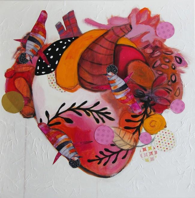 Le coeur qui s'emballe pour des fleurs de printemps, de l'artiste Kim Durocher, Tableau, Acrylique et Techniques mixtes sur bois, Série : Joie, Création unique, dimension : 20 x 20 po de largeur