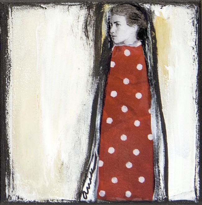 L'aventureuse, no 9, de l'artiste Anik Lachance, Collection, L'armée de femmes, Tableau, Techniques mixtes sur toile, Création unique, dimension : 6 x 6 po de largeur