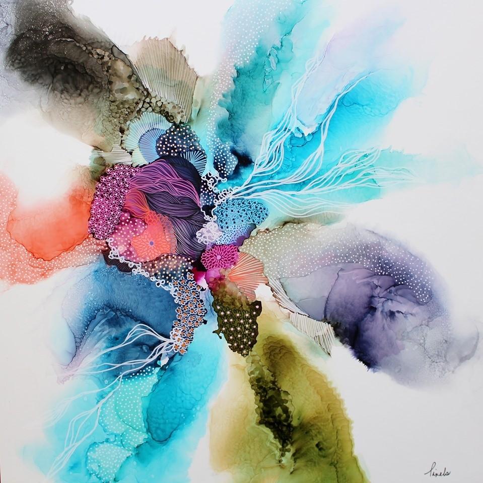 À contre temps, de l'artiste Nancy Létourneau, Oeuvre sur papier Yupo 80 livres, marouflé sur bois galerie, médium encre à l'alcool et acrylique, dimension 24 x 24 po de largeur