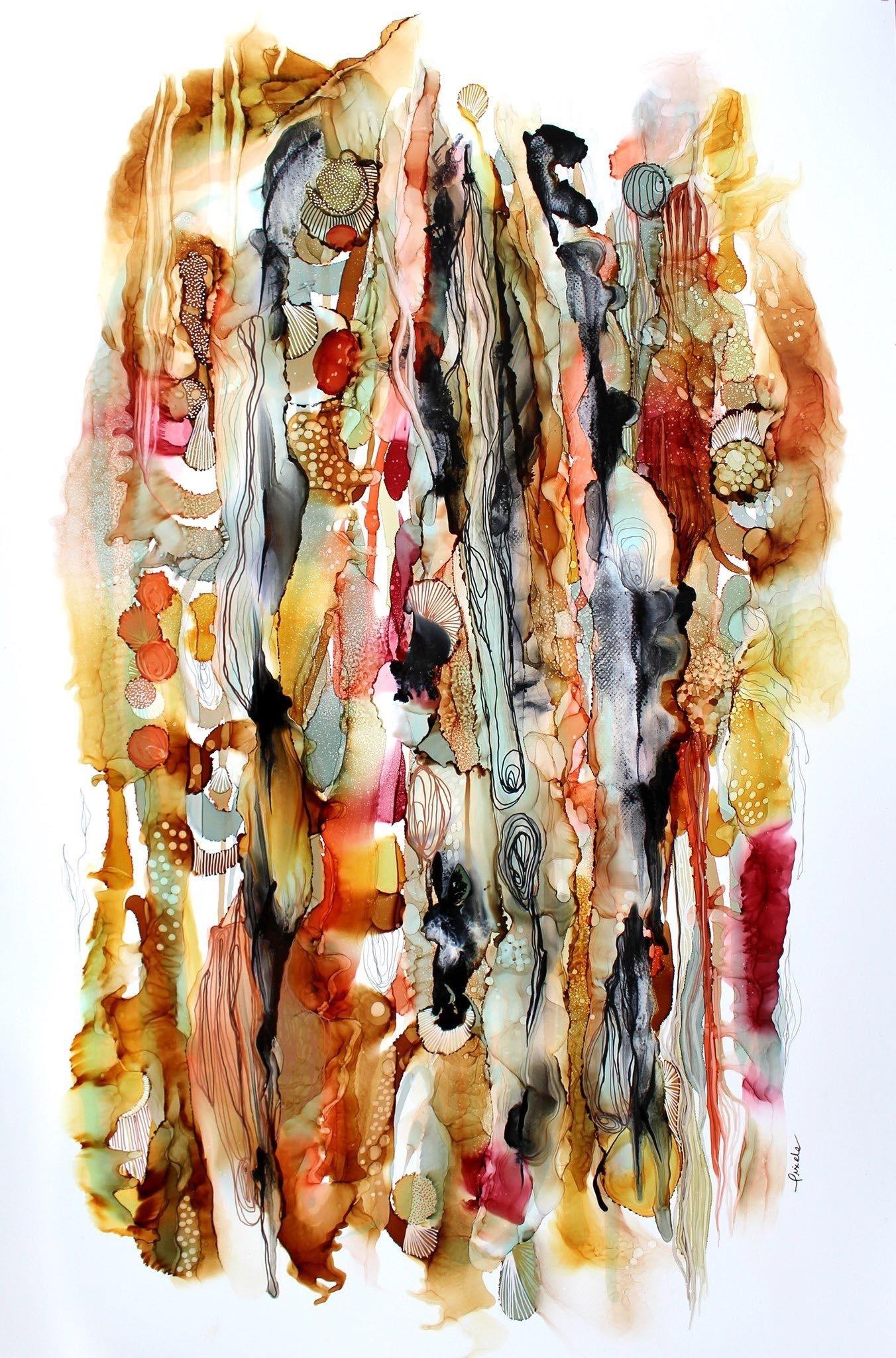 Âmes des écorces, de l'artiste Nancy Létourneau, Oeuvre sur papier Yupo, médium encre à l'alcool, Création unique, dimension 40 x 26 de largeur