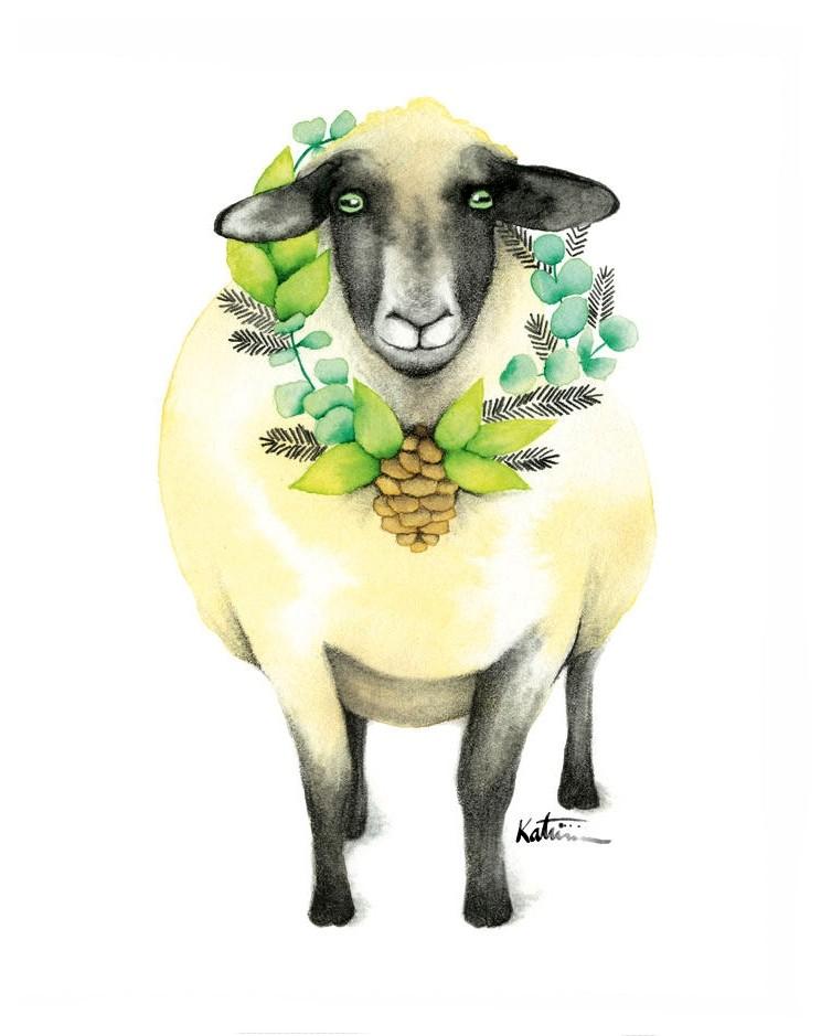 Affiche, Mouton amoureux, de l'artiste Katrinn Pelletier, dimension : 10 x 8 po de largeur