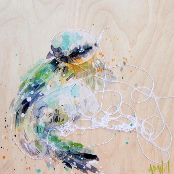 Lysa, de l'artiste Anne-Marie Villeneuve, Tableau, Acrylique et fils de coton sur bois, Création unique, dimension : 8 x 8 po de largeur