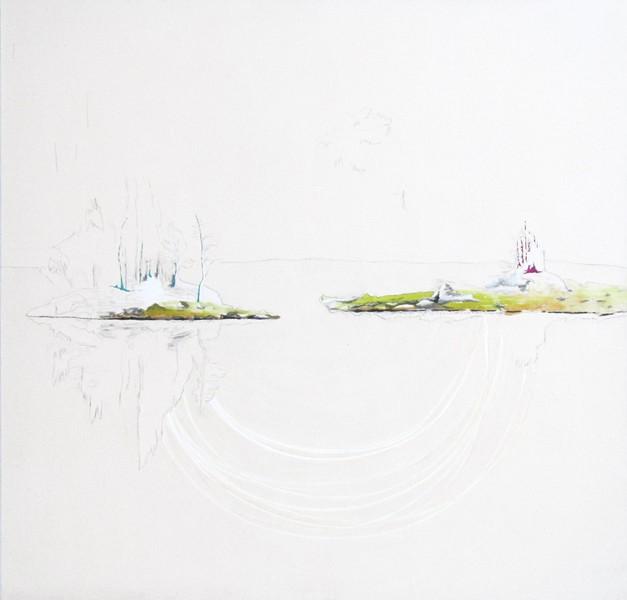 Deux îles, une rencontre, de l'artiste Annie Lévesque, Série : La quête de sens, Tableau, Acrylique, pastel, crayon de couleur et graphite, Création unique, dimension : 48 x 48 po de largeur
