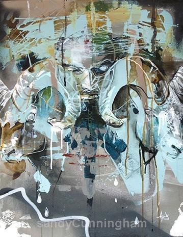 Apaise ou agite les tempêtes, de l'artiste Sandy Cunningham, Tableau, Techniques mixtes sur toile, Création unique, dimension : 28 x 22 po de largeur