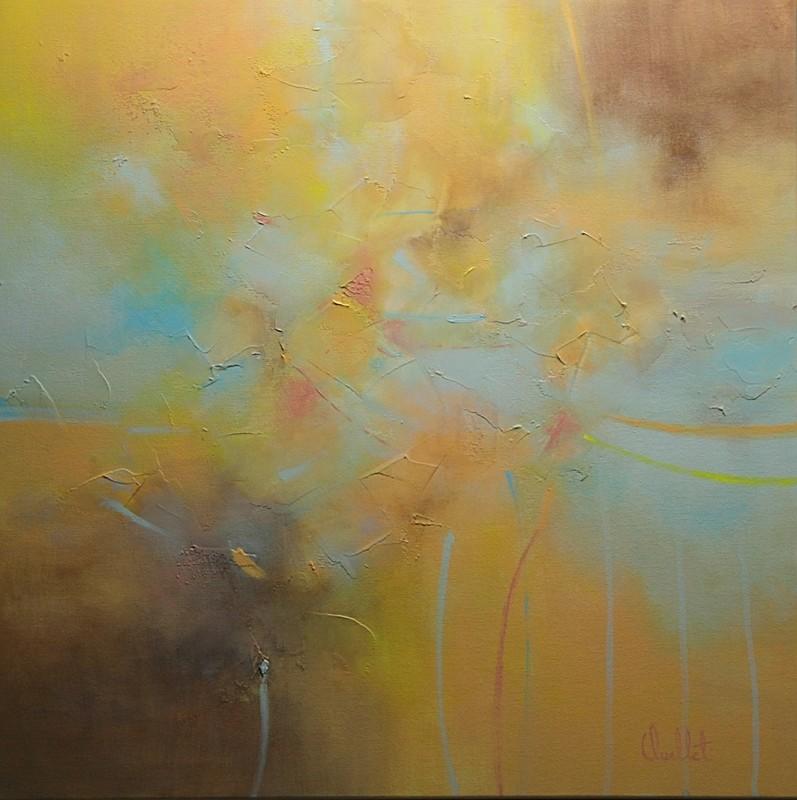 Apprivoiser l'absence, de l'artiste Sophie Ouellet, Tableau, acrylique sur toile, Création unique, dimension : 20 x 20 po de largeur