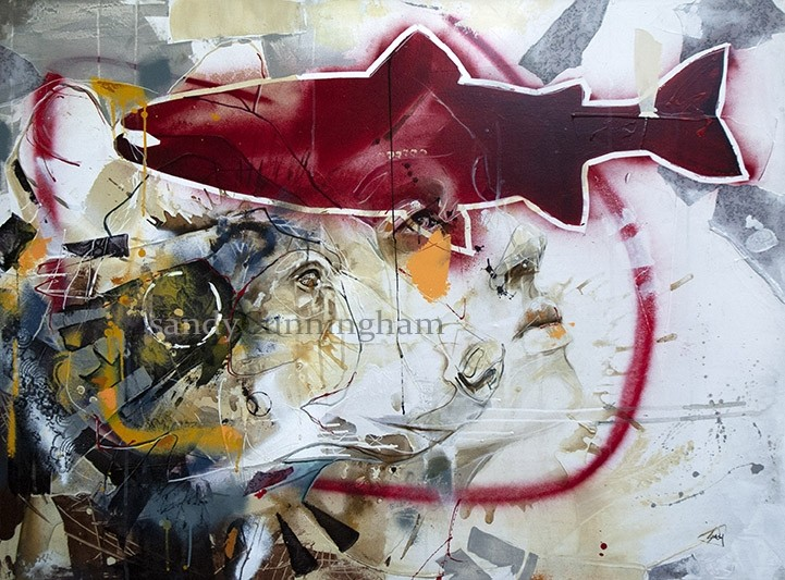 Aux abords de la rivière, de l'artiste Sandy Cunningham, Tableau, Techniques mixtes sur toile, Création unique, dimension : 36 x 48 po de largeur