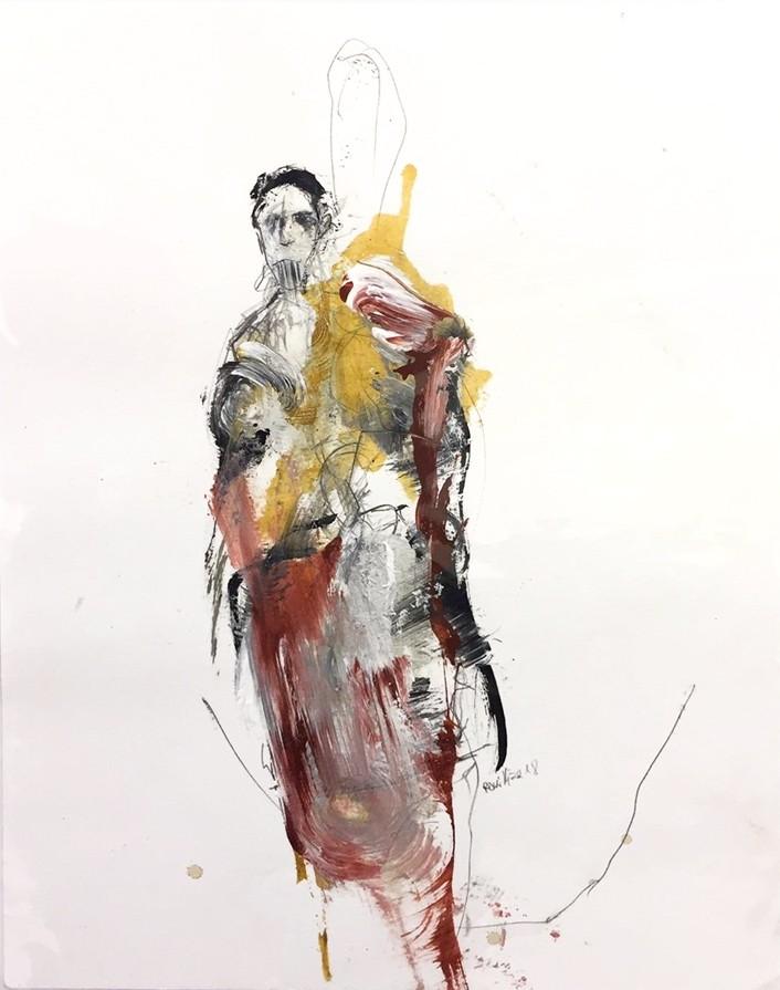 Baron de la marée, de l'artiste Benoit Genest Rouillier, Oeuvre sur papier, Techniques mixtes, Création unique, dimension : 13.75 po x 10.25 po de largeur