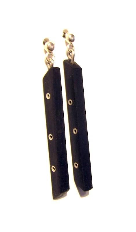 Boucles d'oreilles, Guitare, no 21, de l'artiste Le Forestier, Bijoux faits de bois