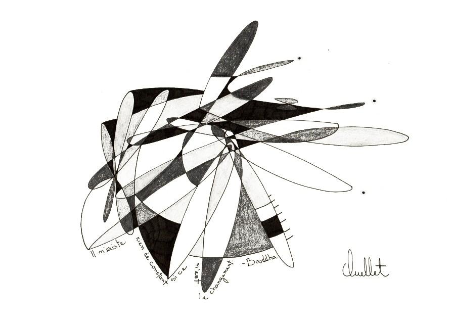 Bouddha (o.encadrée), de l'artiste Sophie Ouellet, Oeuvre sur papier sans acides, Graphite, Création unique, dimension : 8 x 10 po de largeur