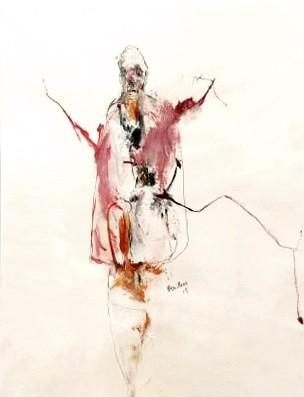 Boxing day, de l'artiste Benoit Genest Rouillier, Oeuvre sur papier, Techniques mixtes, Création unique, dimension : 13.75 po x 10.5 po de largeur