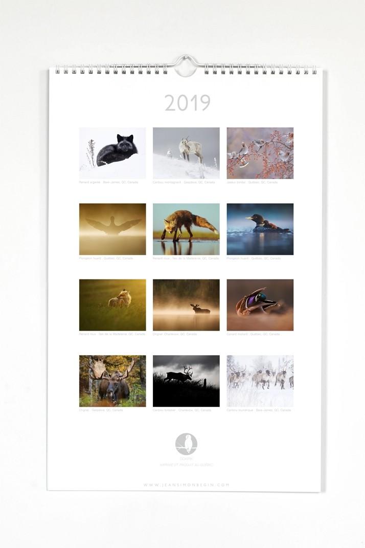 Calendrier 2019, de l'artiste Jean-Simon Bégin, 12 photographies prises par l'artiste lors de ses voyages d'exploration, dimension 17 x 11 pouces de largeur