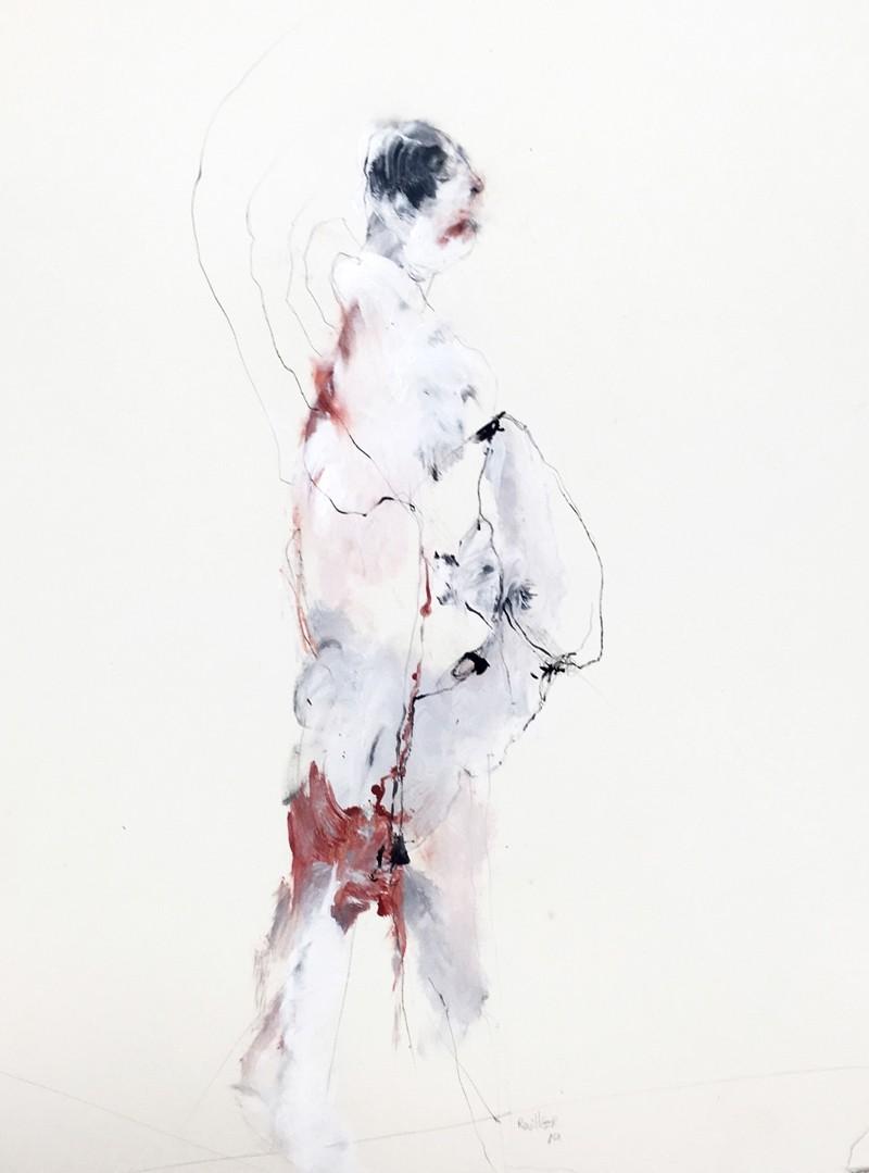 Certitudes radioactives, de l'artiste Benoit Genest Rouillier, Oeuvre sur papier, Techniques mixtes, Création unique, dimension : 30 po x 22 po de largeur