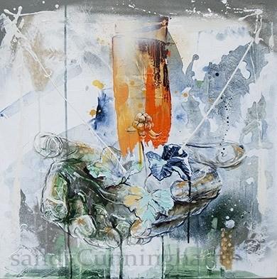 Chicoutai, de l'artiste Sandy Cunningham, Tableau, Techniques mixtes sur toile, Création unique, dimension : 24 x 24 po de largeur