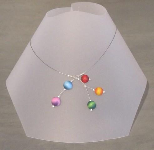 Collier, Planètes, no 112, de l'artiste Sophiori, Bijou contemporain coloré, fait à la main, Matière première : pâte de polymère, de la création jusqu'à l'assemblage final