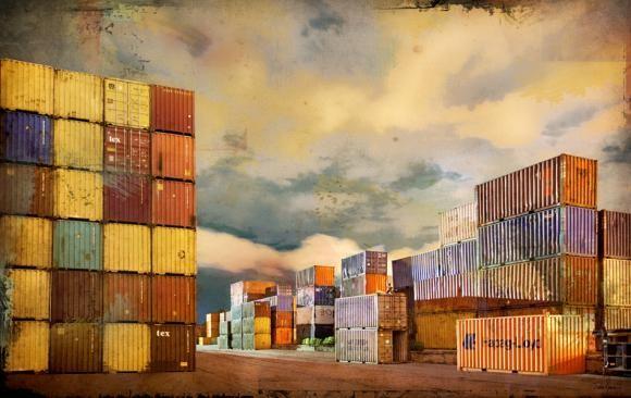 Containers MTL, 4/25, de l'artiste Pascal Normand, Estampe numérique, technique mixte, dimension : 20 x 32 po de largeur