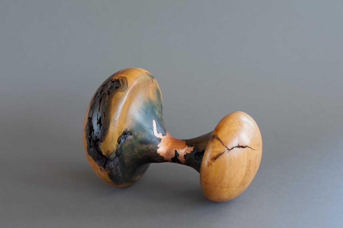 Défusion, de l'artiste Bernard Hamel, Sculpture, Loupe d'érable et feuille de cuivre, Création unique, dimension : 12 x 8 1/2 x 8 1/2 po