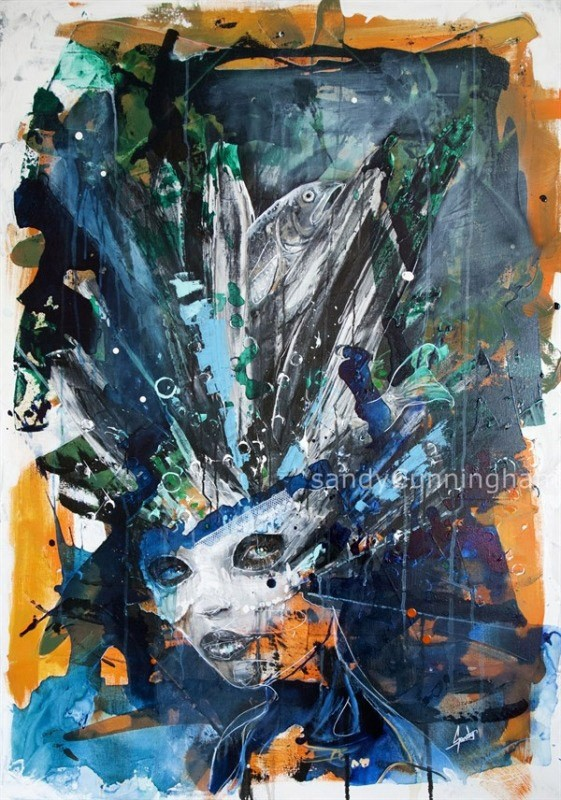 De la gêne (t.encadré), de l'artiste Sandy Cunningham, Tableau, Techniques mixtes sur toile, Création unique, dimension : 48 x 34 po de largeur