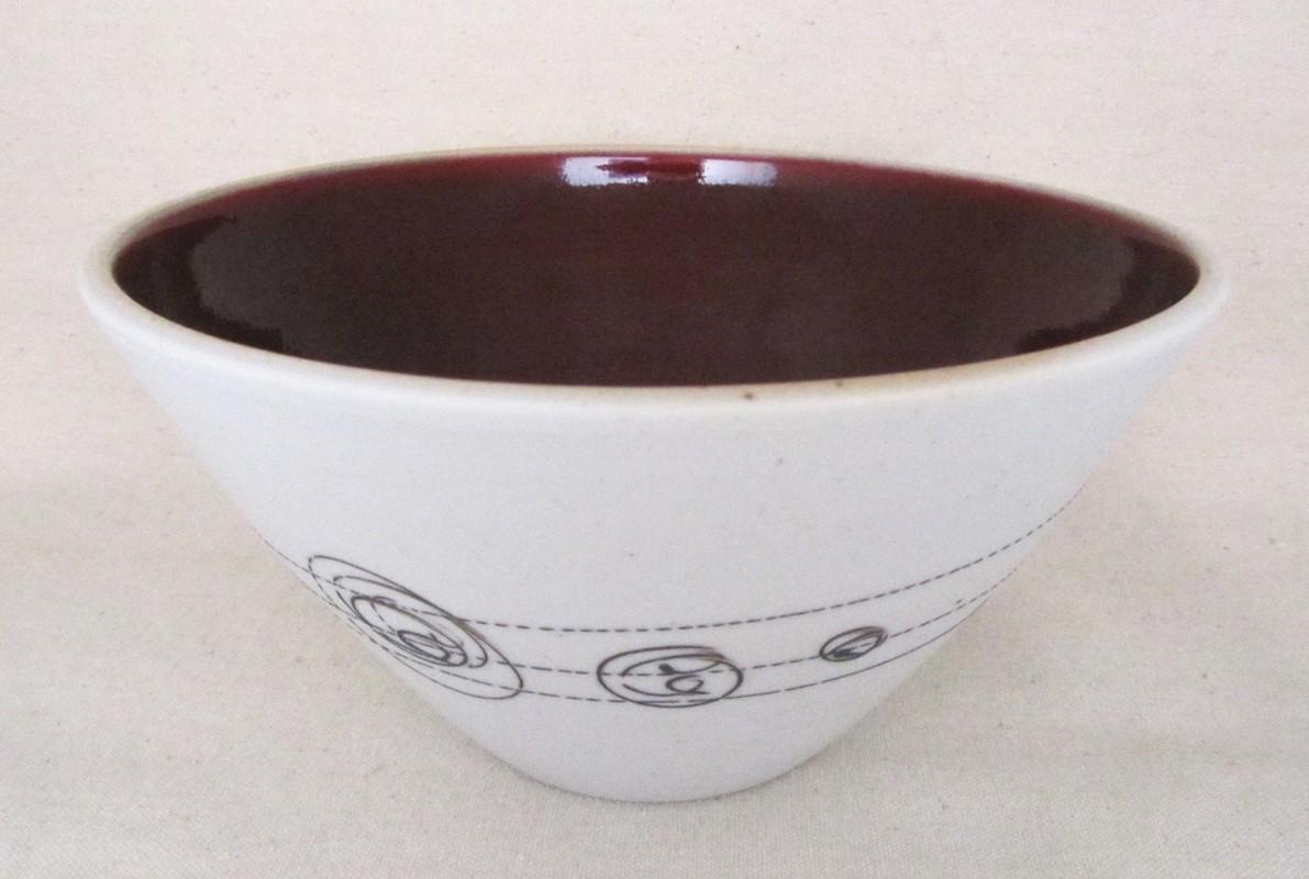Bol à soupe thaï, # 10, de l'artiste Elizabeth Hamel, medium : céramique porcelaine blanche, dimension : 3.5 x 7 x 7 pouces
