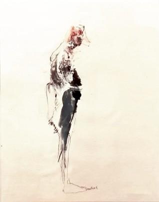 En regardant mes orteilles, de l'artiste Benoit Genest Rouillier, Oeuvre sur papier, Techniques mixtes, Création unique, dimension : 13.75 po x 10.5 po de largeur
