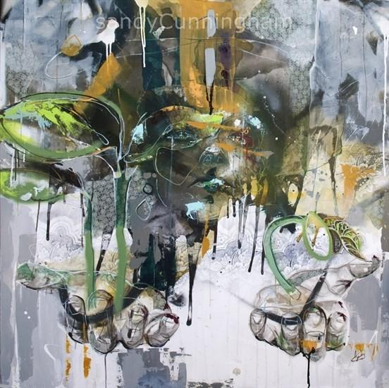 Fertilité, de l'artiste Sandy Cunningham, Tableau, Techniques mixtes sur toile, Création unique, dimension : 48 x 48 po de largeur