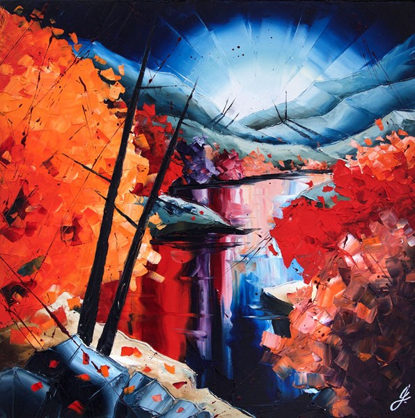 Feuillage riverain, de l'artiste Jean-Simon Bégin, Tableau, Huile sur toile, Création unique, dimension 30 x 30 pouces de largeur
