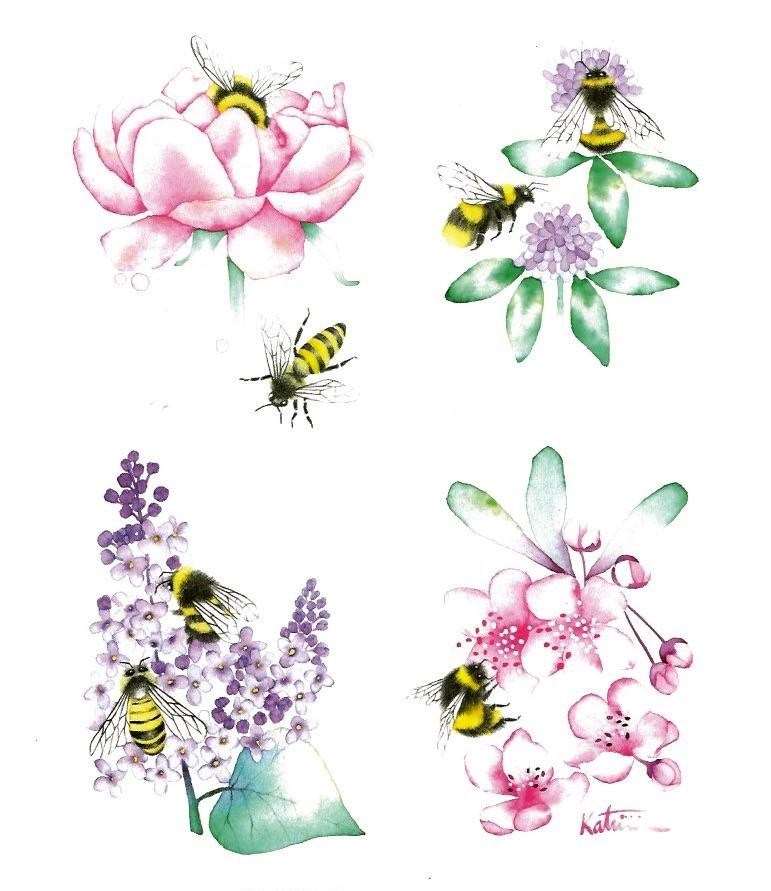 Affiche, Fleurs du Québec, abeilles et bourdons, de l'artiste Katrinn Pelletier, dimension : 10 x 8 po de largeur