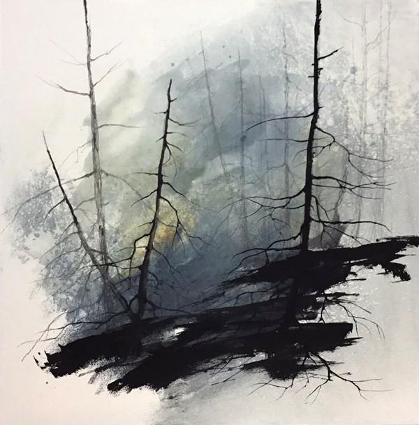 Foresta Nebi-a, de l'artiste Marie-Claude Bouchard, Tableau, Acrylique, Création unique, dimension 16 x 16 pouces de largeur