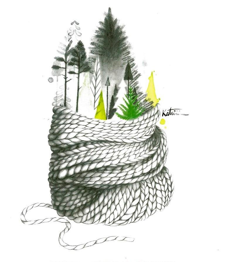 Affiche, Forêt, de l'artiste Katrinn Pelletier, dimension : 10 x 8 po de largeur