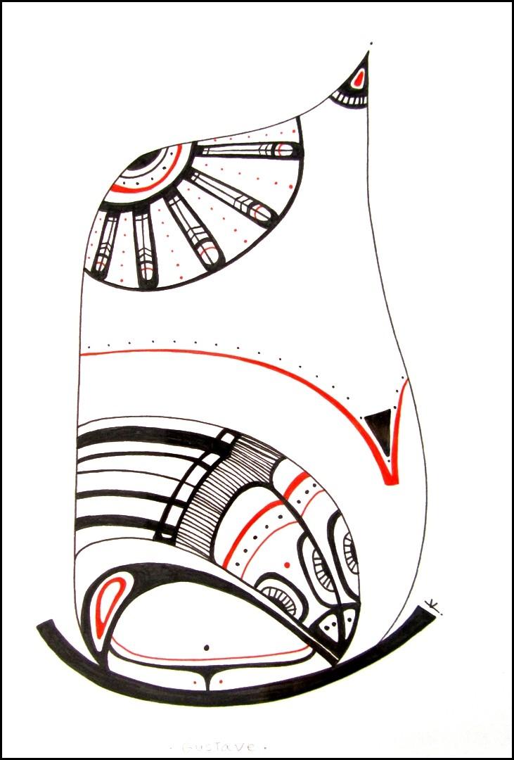 Gustave, de l'artiste Kirkov, Oeuvre sur papier, encre, dimension : 9 x 6 po de largeur