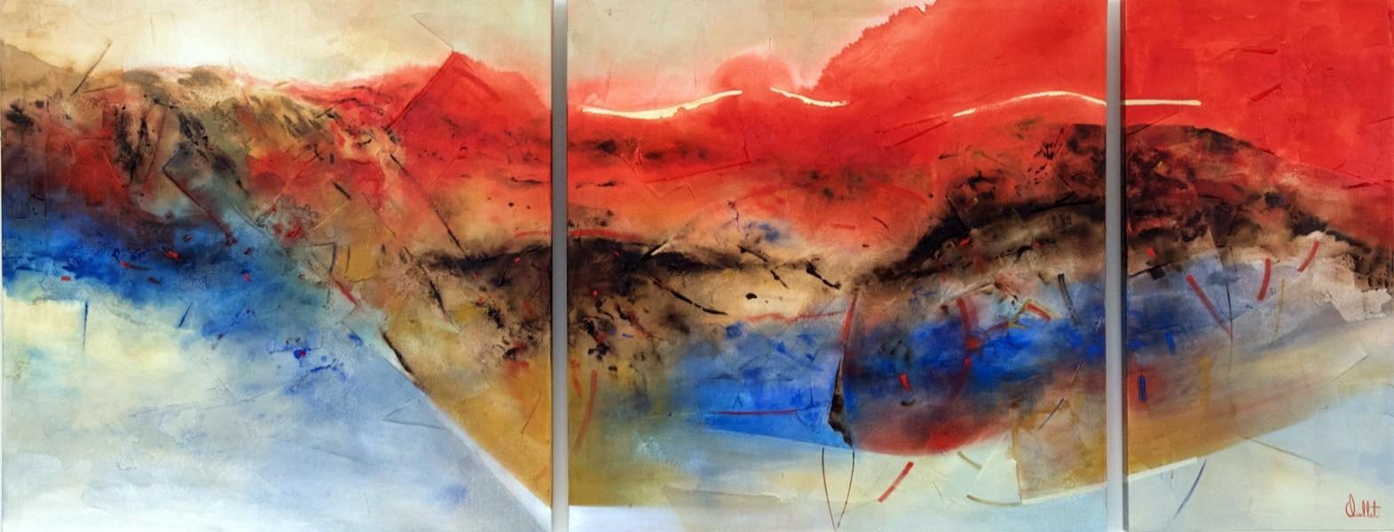 HaïKu, de l'artiste Sophie Ouellet, Tableau, acrylique sur toile, 3 pièces (triptyque), Création unique, format total de l'oeuvre : 30 x 75 pouces de largeur