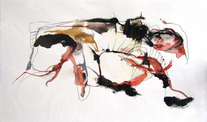 Hypothétique, dessin de l'artiste Benoit Genest Rouillier, Dessin, Encre, acrylique et stylo sur papier, Création unique, dimension : 10 x 15 po po de largeur