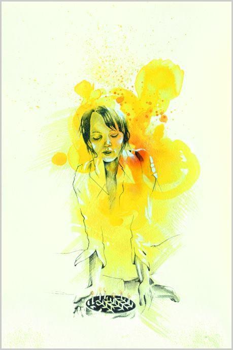 Inner Connection, de l'artiste Marie Chantal Le Breton, Dessin : Encre et graphite sur papier aquarelle, Création unique, dimension 18 x 12 pouces de largeur