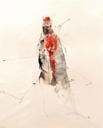 Javel, de l'artiste Benoit Genest Rouillier, Oeuvre sur papier, Techniques mixtes, Création unique, dimension : 13.75 po x 10.5 po de largeur