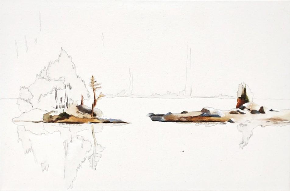 Je suis ce que je suis... grâce à ce que nous sommes, de l'artiste Annie Lévesque, Tableau, Acrylique, crayon aquarelle et graphite sur toile brute, Création unique, dimension : 20 x 30 po de largeur