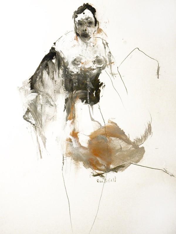 Jocelyne et le gâteau aux patates, de l'artiste Benoit Genest-Rouillier, Oeuvre sur papier : techniques mixtes, Création unique, dimension 13.75 x 10.5 pouces de largeur