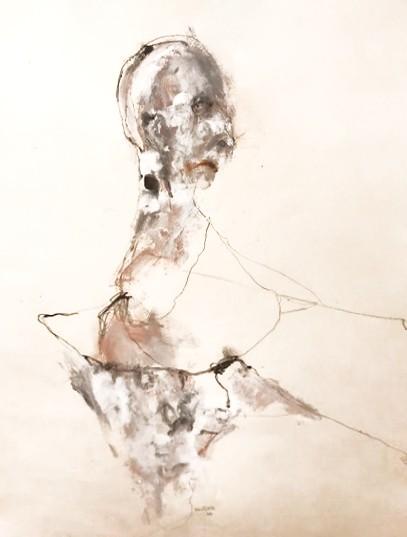 Joker surpeuplé, de l'artiste Benoit Genest Rouillier, Oeuvre sur papier, Techniques mixtes, Création unique, dimension : 30 po x 22 po de largeur