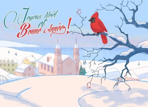 Carte de souhaits 5x7, Le cardinal à Ste-Anne de Beaupré, Ni Vu Ni Cornu, dimension : 5 x 7 pouces largeur, sans texte, avec enveloppe, Vous pouvez inscrire votre message à l'intérieur, Carte vendue à l'unité, En + grande quantité, texte personnalisé, fra