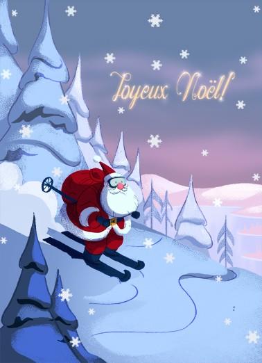 Carte de souhaits 7x5, Wow ! Nicolas Noël arrive ! Préparez-vous !, Ni Vu Ni Cornu, dimension : 7 x 5 pouces largeur, sans texte, avec enveloppe, Vous pouvez inscrire votre message à l'intérieur, Carte vendue à l'unité, En + grande quantité, texte personn