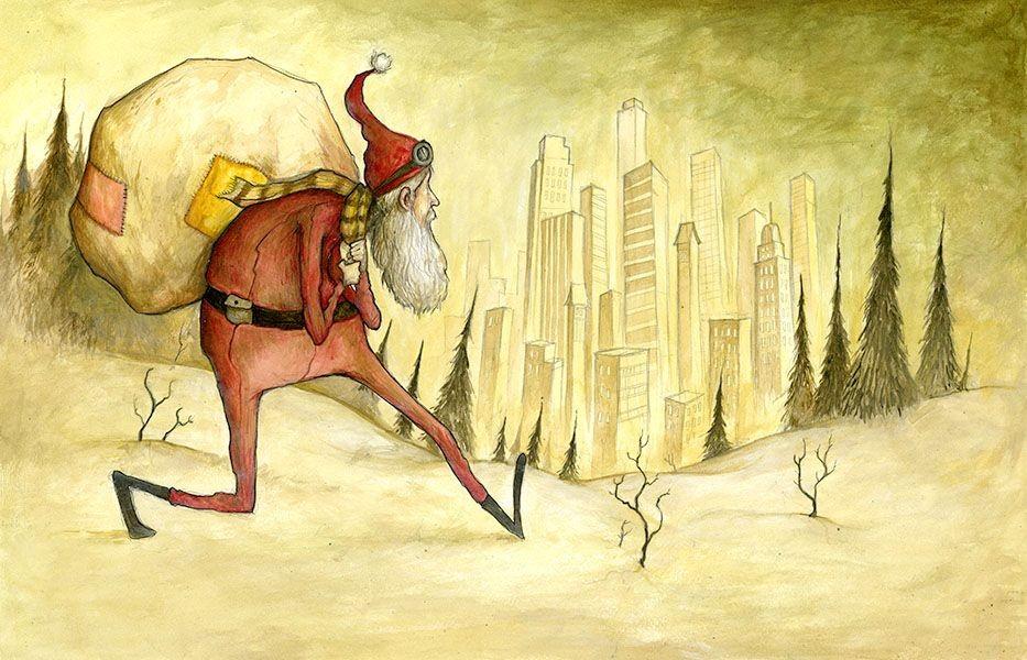 Carte de souhaits 5x7, Joyeux Noël, de l'artiste Félix Girard, dimension : 5 x 7 pouces largeur, sans texte, avec enveloppe, Vous pouvez inscrire votre message à l'intérieur., Carte vendue à l'unité