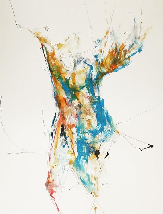 Juju, de l'artiste Benoit Genest Rouillier, Oeuvre sur papier, Techniques mixtes, Création unique, dimension : 30 po x 22  po de largeur
