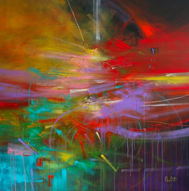 L'atome du bonheur, de l'artiste Sophie Ouellet, Tableau, acrylique sur toile, Création unique, dimension : 40 x 40 po de largeur