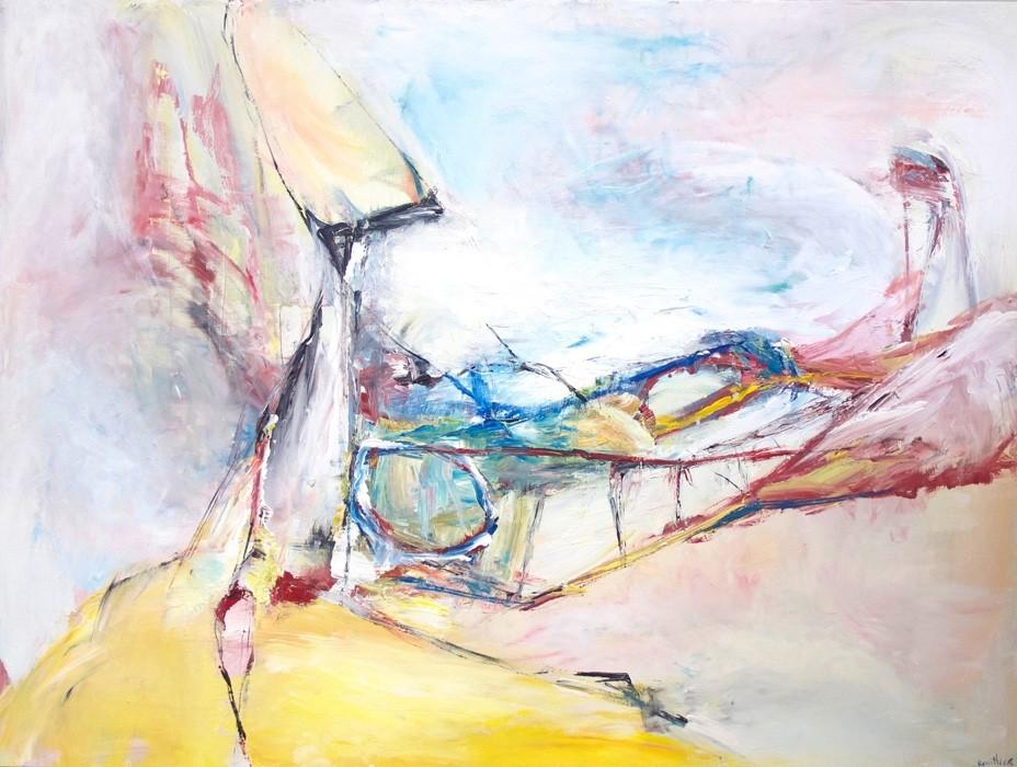 L'étonnement en boucle sous des fils électriques, de l'artiste Benoit Genest Rouillier, Tableau, Acrylique sur toile, Création unique, dimension : 36 x 48 po de largeur