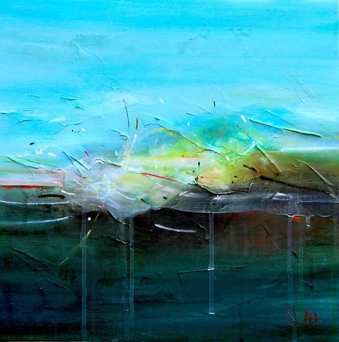 L'expérience de la durée, de l'artiste Sophie Ouellet, Tableau, acrylique sur toile cartonnée, Création unique, dimension : 16 x 16 po de largeur