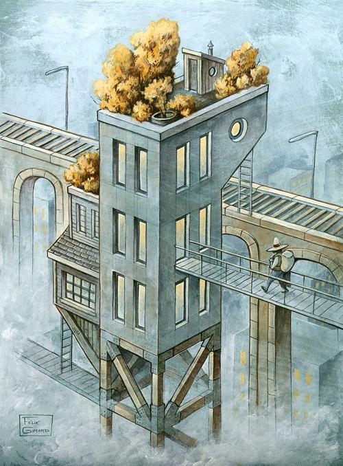 La gare, affiche, de l'artiste Félix Girard, sur papier Hahnemühle Fine Art Photo Rag avec de l'encre à pigment, dimension : 18 x 14 pouces de largeur, affiche prête à être encadrée