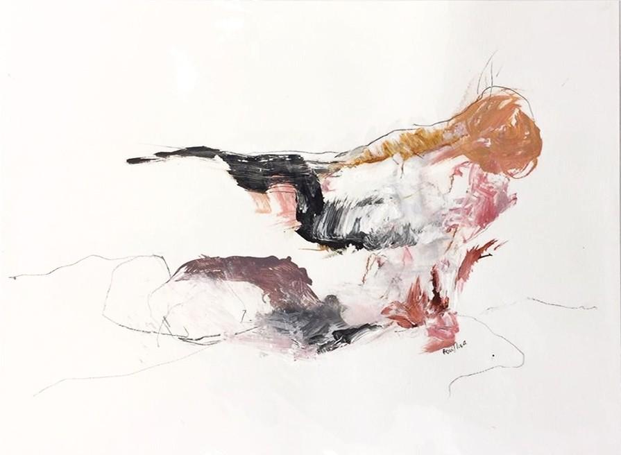 La loi du rose, de l'artiste Benoit Genest-Rouillier, Oeuvre sur papier : techniques mixtes, Création unique, dimension 13.75 x 10.5 pouces de largeur
