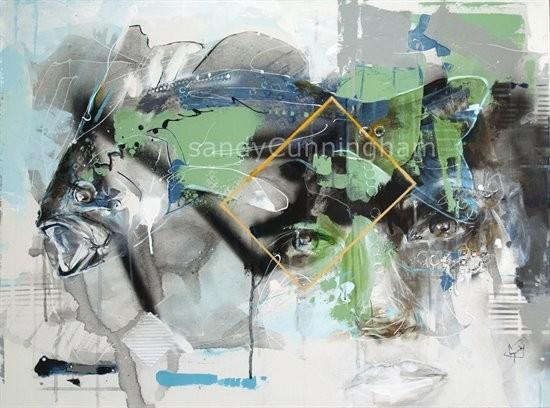 La symbiose, de l'artiste Sandy Cunningham, * 1er prix du Jury au concours du Rendez-vous québécois de la jeune peinture de Thetford Mines, Tableau, Acrylique sur toile, Création unique, dimension : 30 x 40 po de largeur