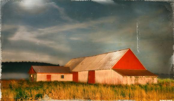 La vieille ferme de Mme Prémont, 1/25, de l'artiste Pascal Normand, Estampe numérique, technique mixte, dimension : 28 x 48 po po de largeur