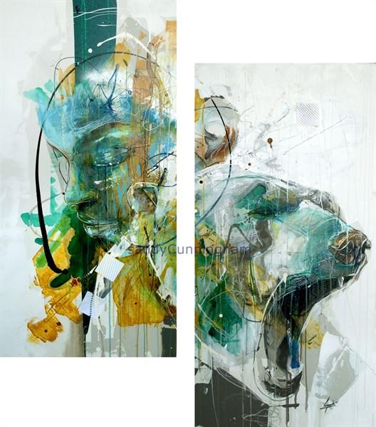 La banquise (diptyque), de l'artiste Sandy Cunningham, Tableau, Acrylique sur toile, 2 pièces, dimension chaque unité : 48 x 24 pouces, format total de l'oeuvre : 48 x 48 pouces de largeur
