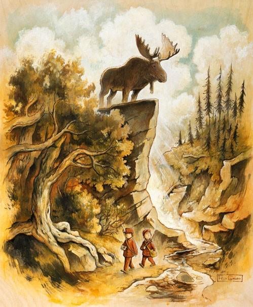 La chasse, affiche, de l'artiste Félix Girard, sur papier Hahnemühle Fine Art Photo Rag avec de l'encre à pigment, dimension : 18 x 14 pouces de largeur, affiche prête à être encadrée